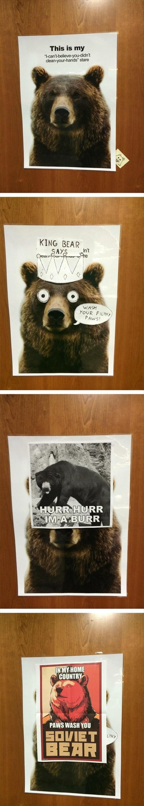 bathroom,bear,Memes,monday thru friday,sign