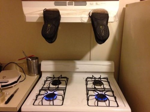 clever,DIY,shoes,there I fixed it,stove