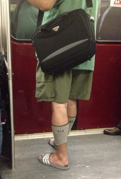 poorly dressed,socks,Subway,sandals