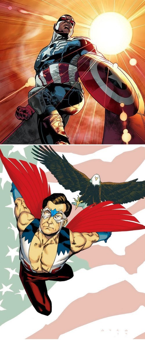 captain america,falcon,the colbert report