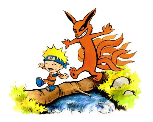 crossover,calvin and hobbes,anime,Fan Art,naruto