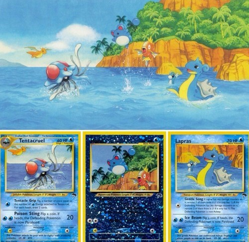 marill,lapras,Pokémon,trading cards,tentacruel