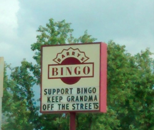 bingo,old people,sign