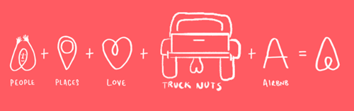 Red - A-A + + + PEOPLE PLACES LOVE AIBNB TRUCK NUTS