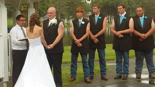 gun show,tuxedo,Groomsmen,poorly dressed,wedding,sleeveless