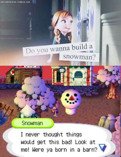 animal crossing,frozen,snowman