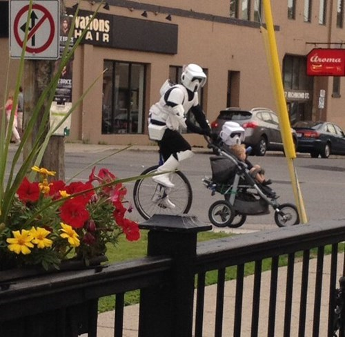 costume kids star wars parenting stormtrooper stroller unicycle
