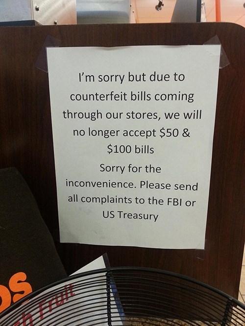 counterfeit monday thru friday sign - 8262992128