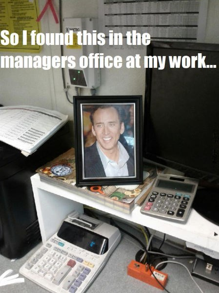 nicolas cage manager monday thru friday framed photo