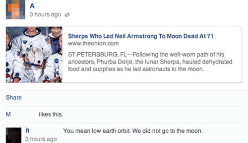 conspiracy,moon landing,satire,the onion
