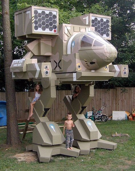 childhood nerdgasm tree house treehouse battletech mech warrior g rated - 8263284992
