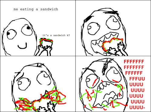eating,sandwich,rage