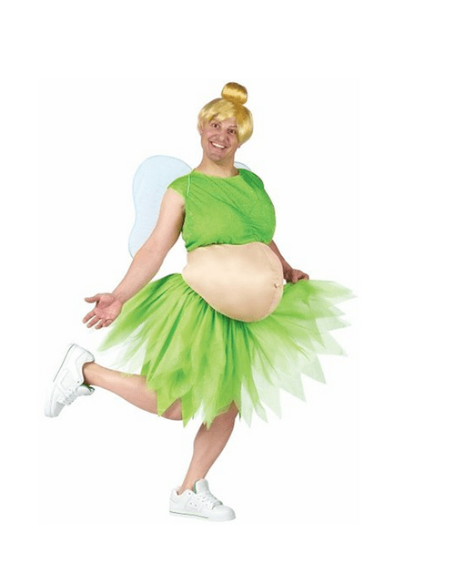costume,beer belly,tinkerbell,poorly dressed