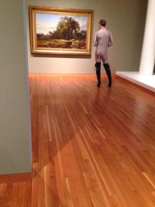 art,boots,spandex,poorly dressed,museum