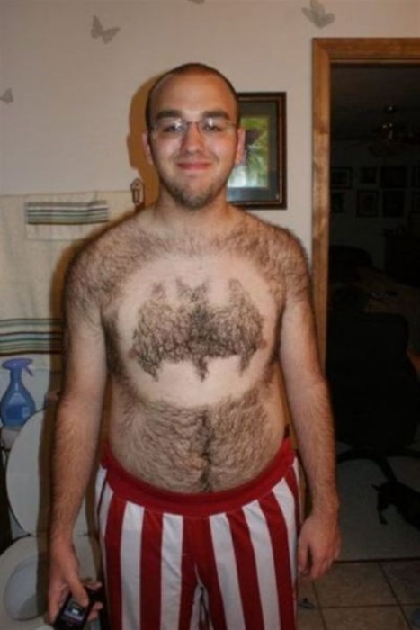 logo,body hair,poorly dressed,shaving,batman,chest hair