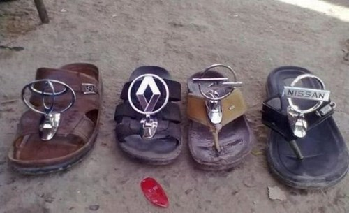 cars flip flops poorly dressed sandals