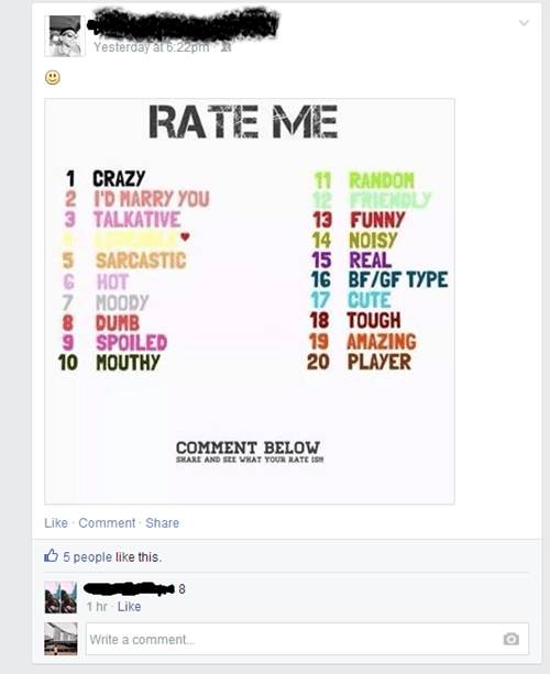 facebook rate me - 8266102784