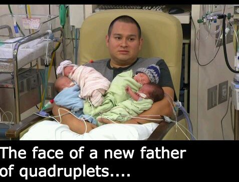 baby expression quadruplets parenting dad newborn g rated