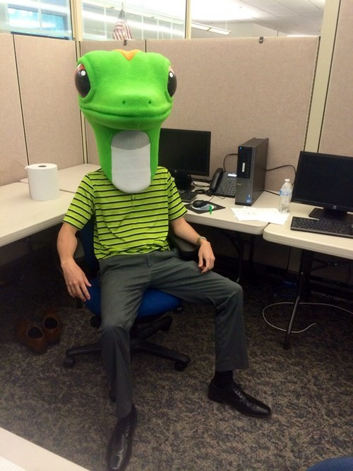 costume,gecko,cubicle,GEICO,monday thru friday,poorly dressed