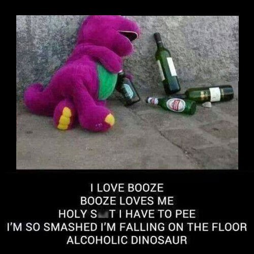 booze drunk barney funny after 12 - 8266411520