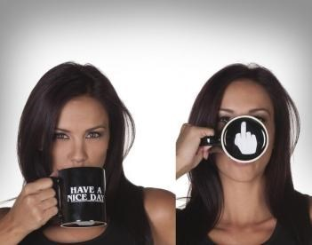 flipping the bird,monday thru friday,mug