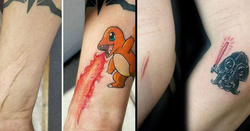 art clever creative comics awesome tattoos cartoons pretty win beautiful scars - 8268549