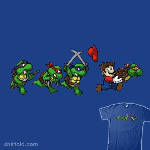 fan art cartoon t-shirt design super mario stealing one of the teenage mutant ninja turtles and being chased by the others