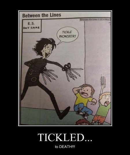 tickle monster,edward scissor-hands,funny