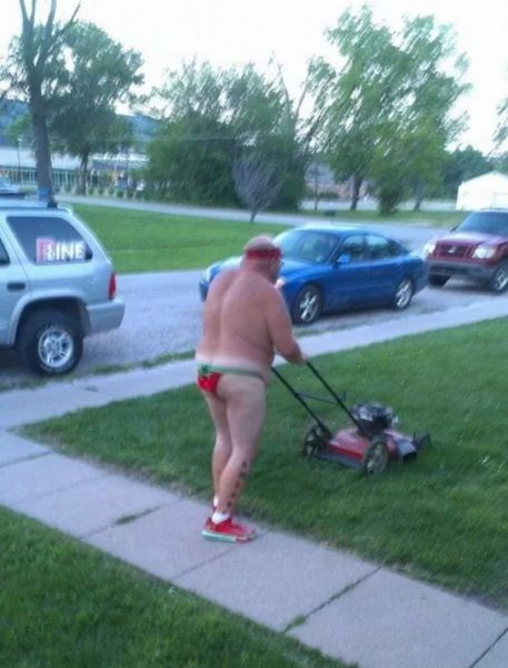 poorly dressed,mowing the lawn,tan lines,underwear