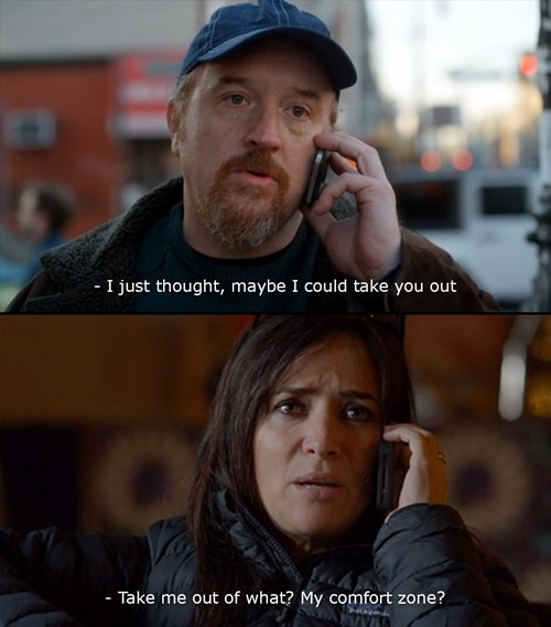 Image grab of Louis CK having a nice dating fail moment.