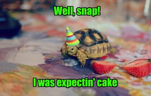 Well, snap! I was expectin' cake