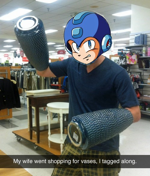 shopping,mega man,boredom