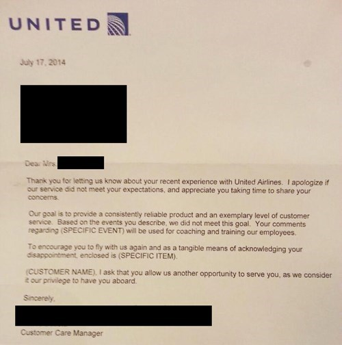 generic apology united airlines