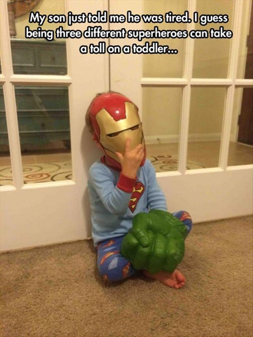 toddler kids parenting iron man superheroes hulk superman