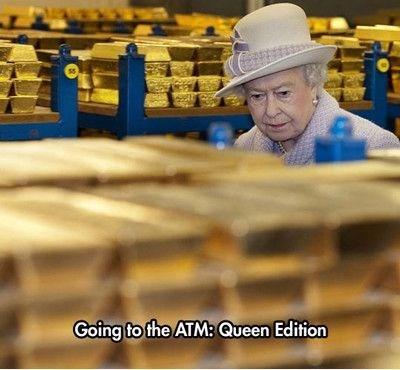 ATM,Queen Elizabeth II,gold,funny