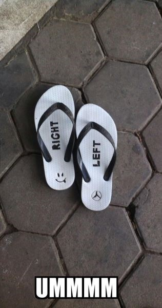 left flip flops right poorly dressed sandals - 8273929472