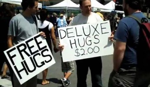 sign,hugs,free stuff