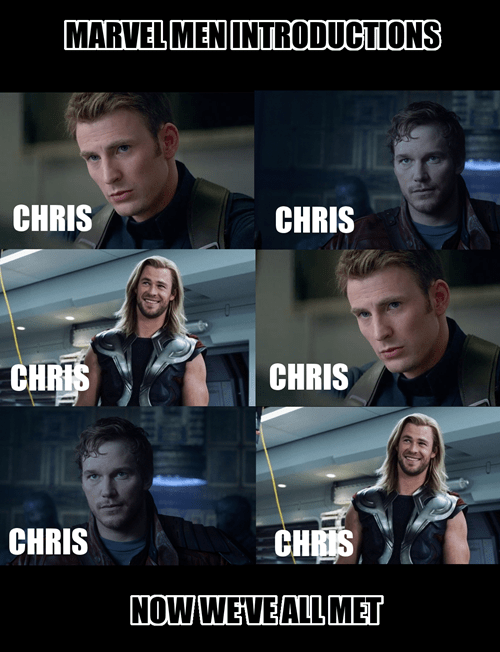 marvel,chris evans,chris pratt,chris hemsworth