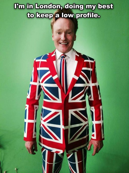 poorly dressed,London,conan obrien,suit,flag