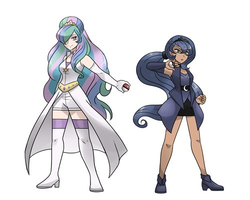 pokemon trainers,princess luna,peincess celestia