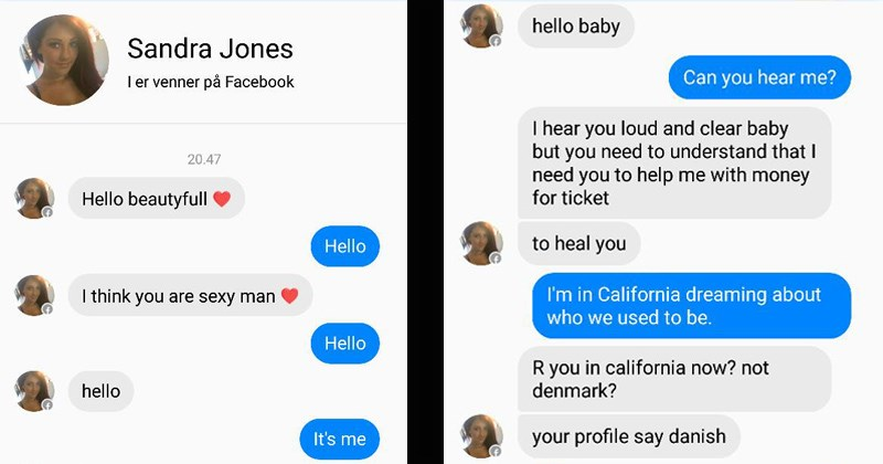 guy trolls a facebook scammer with song lyrics
