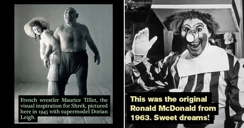Cool moments in history, photos, photography, historical facts | This original Ronald McDonald 1963. Sweet dreams! | French wrestler Maurice Tillet visual inspiration Shrek, pictured here 1945 with supermodel Dorian Leigh.
