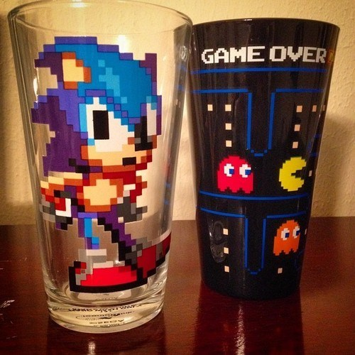 pacman pint glass video games funny sonic after 12 g rated