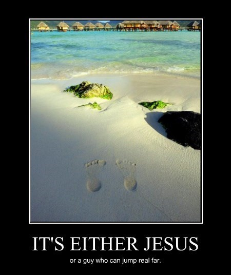 jesus,footprints,funny,jumping