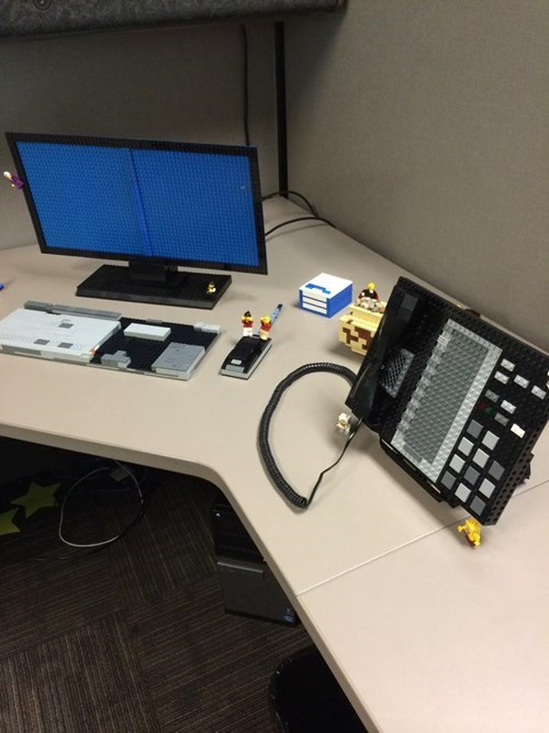 monday thru friday,cubicle prank,lego,prank,cubicle,g rated