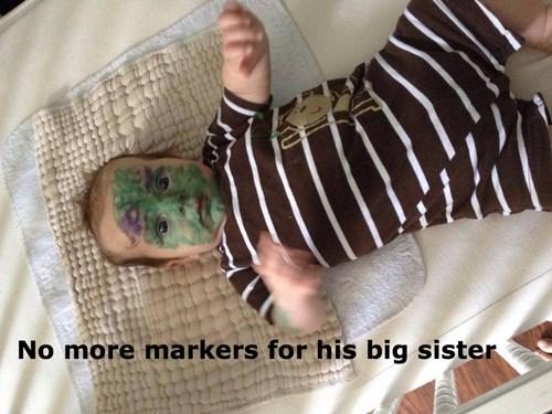 baby kids siblings marker parenting - 8279623168