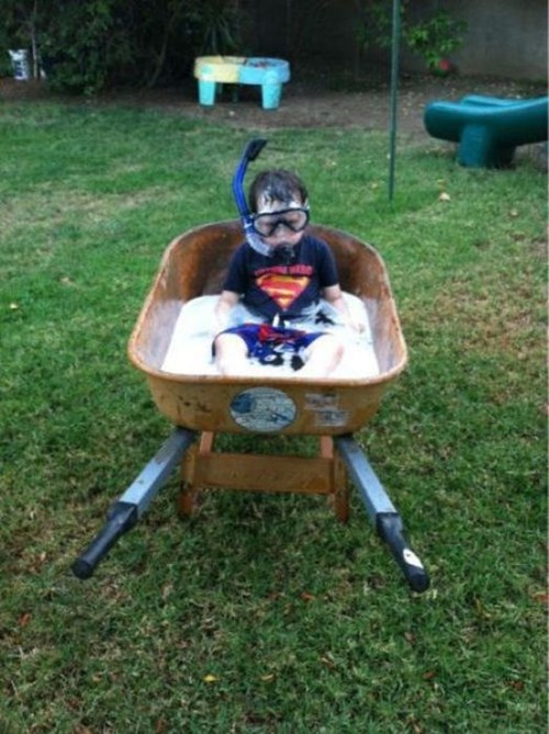 wheelbarrow kids parenting snorkel