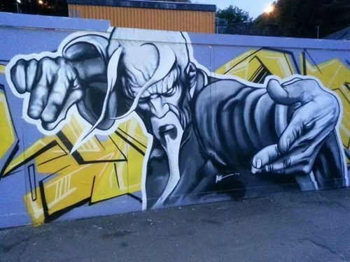 Street Art put sagat in failblog execution barrier Street fighter hacked irl video games - 8279930368
