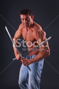 stock photo cringe swords muscles - 8280782848