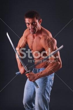 stock photo cringe swords muscles - 8280782848